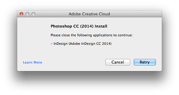 Please close the following applications to continue: Photoshop