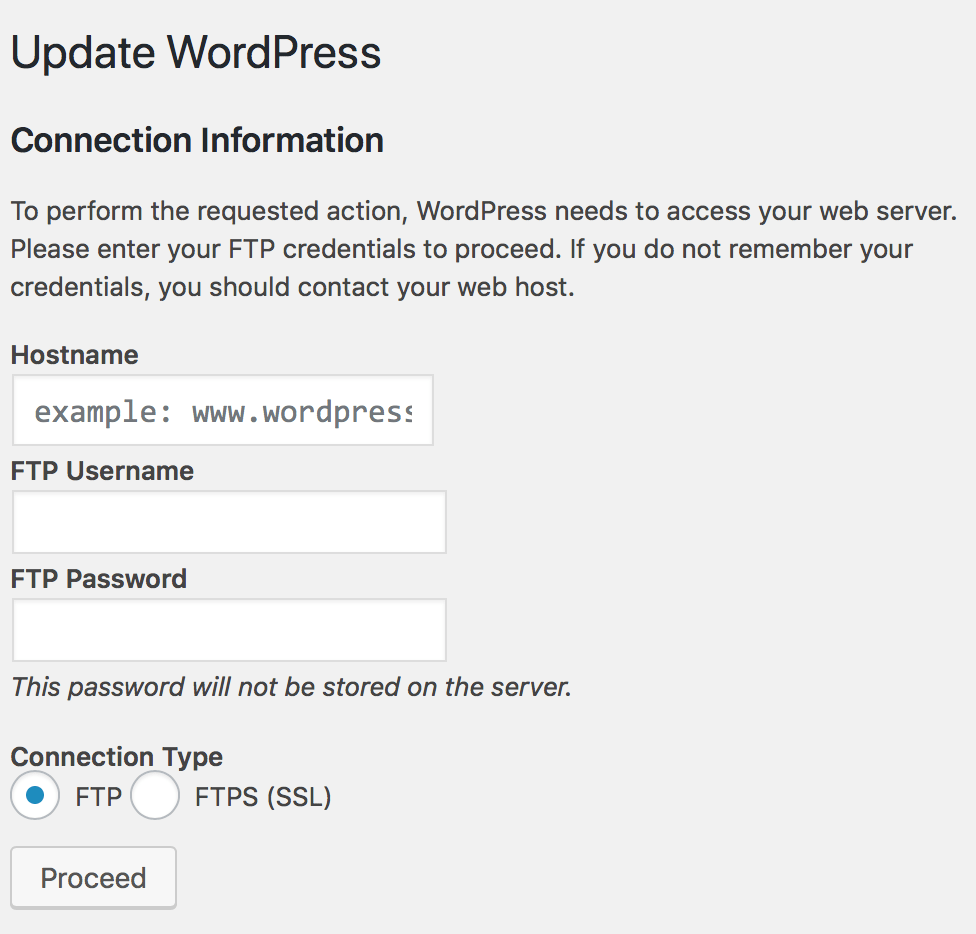 How to stop WordPress from asking for FTP connection information